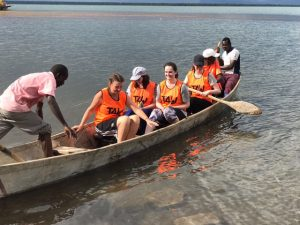 Rowing across Lake Bisina
