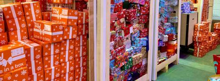 Stacks of decorated shoeboxes